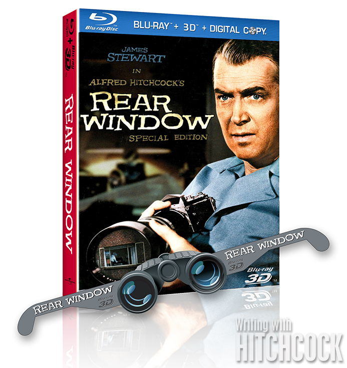 Mock up of the bogus 3D Blu-ray packaging complete with Rear Window binocular cut-out glasses included.